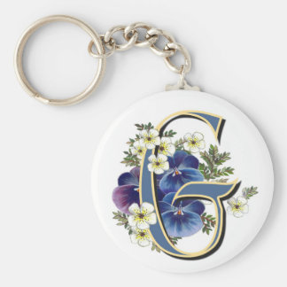 Handpainted Pansy Initial -  G Key Ring