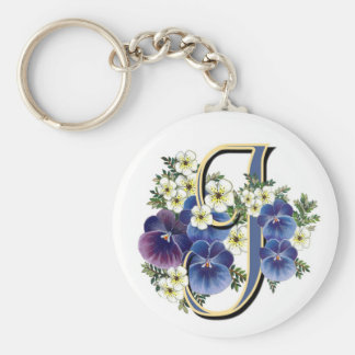 Handpainted Pansy Initial - J Key Ring