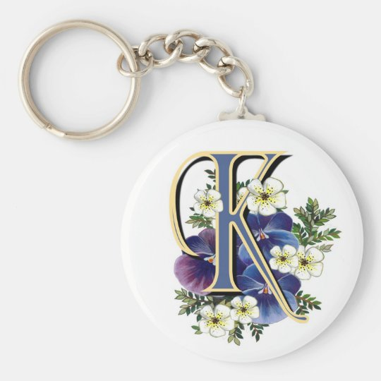 Handpainted Pansy Initial - K Basic Round Button Key Ring