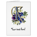 Handpainted Pansy Initial - K Greeting Card