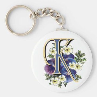 Handpainted Pansy Initial - K Key Ring