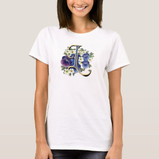Handpainted Pansy Initial Monogram -  L T-Shirt