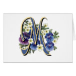Handpainted Pansy Initial Monogram -  M Greeting Cards