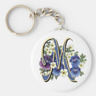 Handpainted Pansy Initial Monogram -  M Key Ring