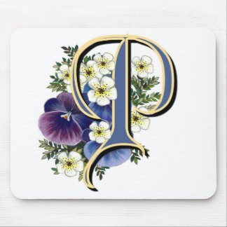 Handpainted Pansy Initial Monogram - P Mouse Pad