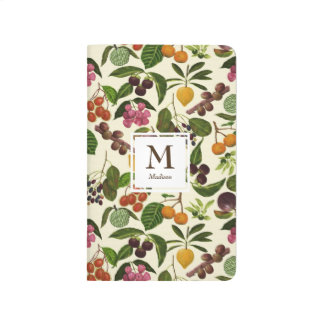 Handpainted Rustic Tropical Fruits Monogram Journal