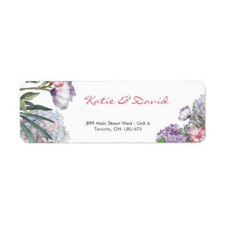 Handpainted water color hydrangea wedding return address label