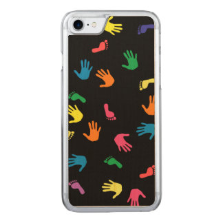Handprint footprint multicolored carved iPhone 8/7 case