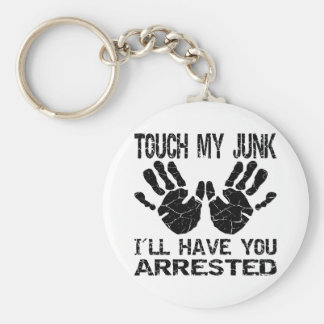 Handprint Touch My Junk I'll Have You Arrested Basic Round Button Key Ring