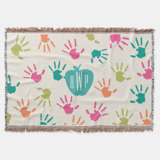 Handprints and Turquoise Apple Monogram Teacher Throw Blanket