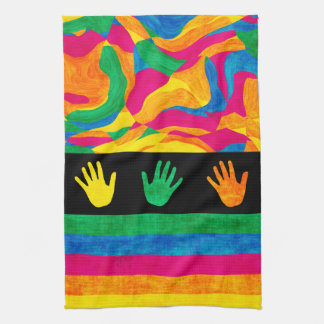 Handprints Colorful Finger Paint Textured Stripes Tea Towel