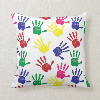 HANDPRINTS PATTERN PILLOW, Bright Kids Pillow