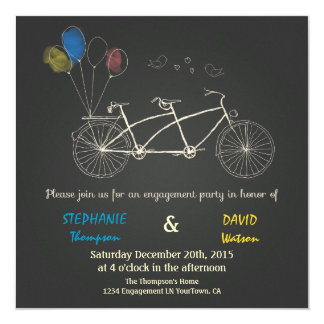 Handrawing Tandem Engagement Invitation