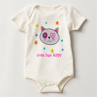 Handrawn Cute has Kitty for Baby Baby Bodysuit