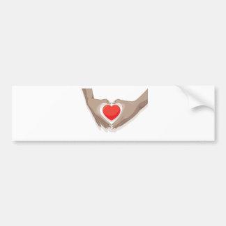 hands and heart bumper sticker