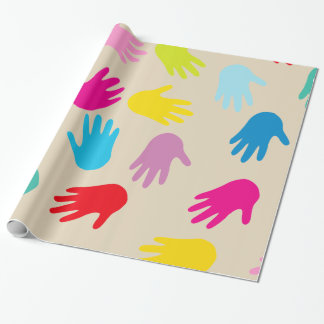 Hands around the world wrapping paper