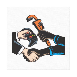 Hands Barter Plumbing Gamer Game Controller Stretched Canvas Prints