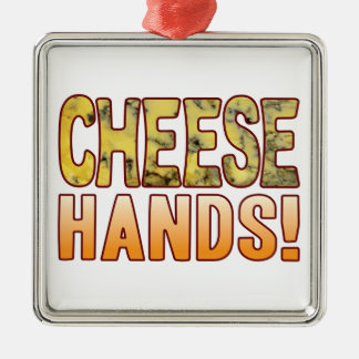 Hands Blue Cheese Silver-Colored Square Decoration