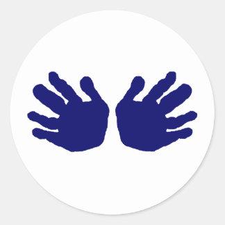 Hands Blue Dk The MUSEUM Zazzle Gifts Round Sticker