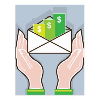 Hands giving receiving checks inside an envelope postcard