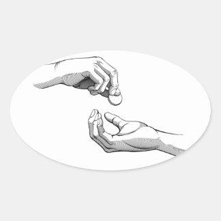 Hands Giving & Receiving Money Oval Sticker