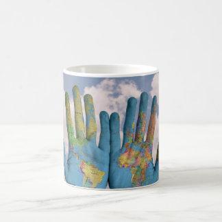 Hands Globe White Classic Mug