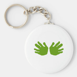 Hands Green The MUSEUM Zazzle Gifts Basic Round Button Key Ring
