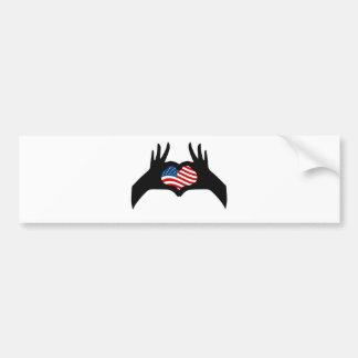Hands Heart Symbol United States American Flag Bumper Sticker