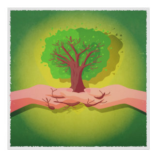 Hands holding a tree illustration poster