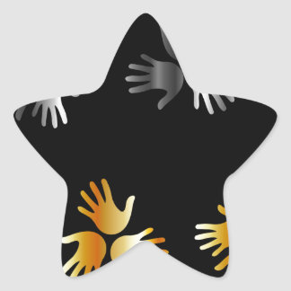 hands in gold and silver star sticker