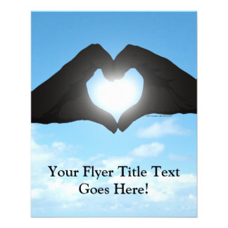Hands in Heart Shape Silhouette on Blue Sky 11.5 Cm X 14 Cm Flyer