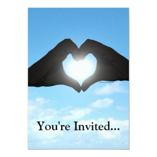 Hands in Heart Shape Silhouette on Blue Sky Card