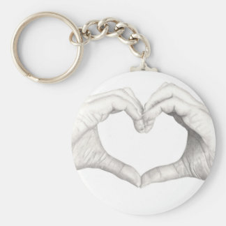 Hands in Shape of a Heart Basic Round Button Key Ring