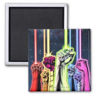 Hands in the air with rings -Color Square Magnet