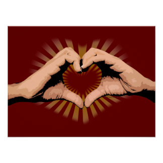 Hands in the Shape of a Heart, Love Design Posters