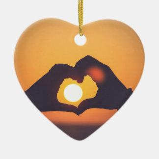 Hands make a love symbol christmas ornament