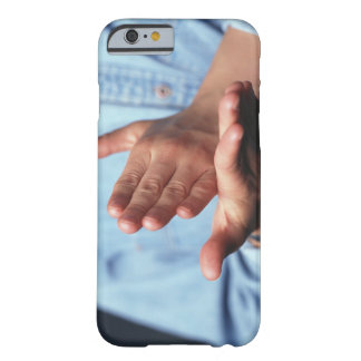 Hands making gesture: one hand held straight on barely there iPhone 6 case