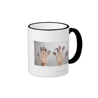 hands&numbers,hands close-up ringer mug