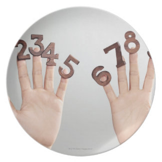 hands&numbers,hands close-up party plate