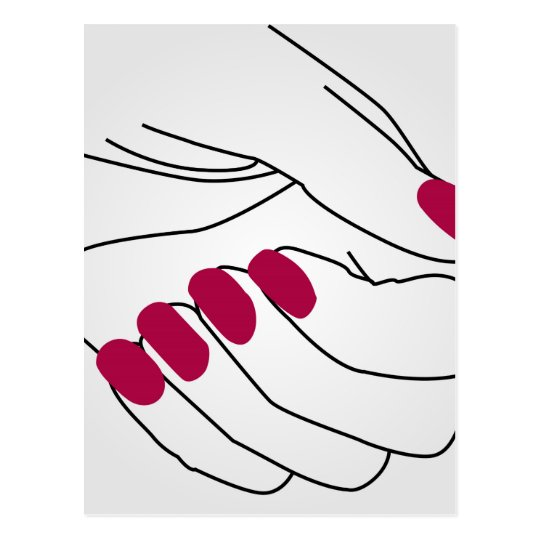 Hands of a lady with painted nails postcard