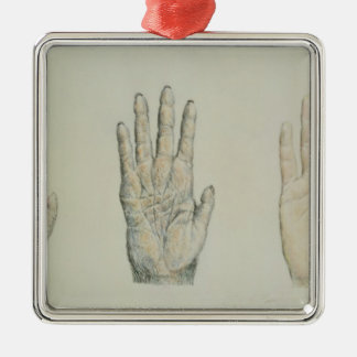 Hands of a primate and a human christmas ornament