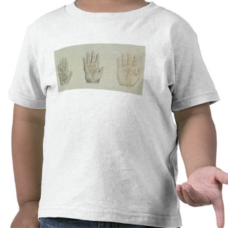 Hands of a primate and a human t shirt