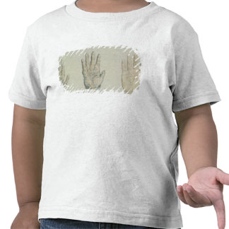 Hands of a primate and a human tee shirt