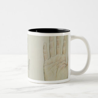 Hands of a primate and a human Two-Tone coffee mug