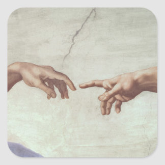 Hands of God and Adam Square Sticker