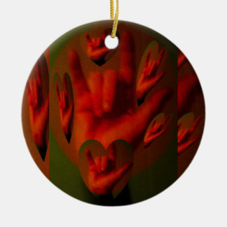 Hands of Love Double-Sided Ceramic Round Christmas Ornament