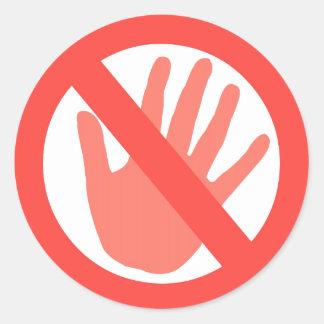 Hands Off Classic Round Sticker