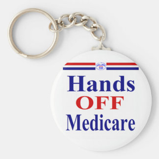 Hands Off Medicare Basic Round Button Key Ring