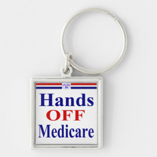 Hands Off Medicare Silver-Colored Square Key Ring