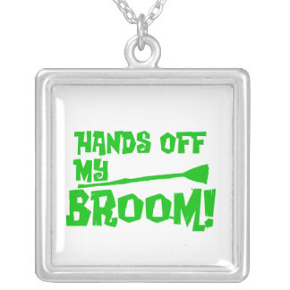 Hands Off My Broom Square Pendant Necklace